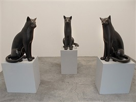 installation view, big sitting cats, 529 west 21st street by gwynn murrill