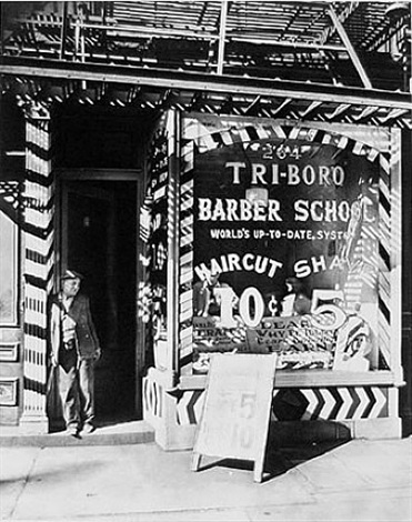 tri-boro barber school by berenice abbott