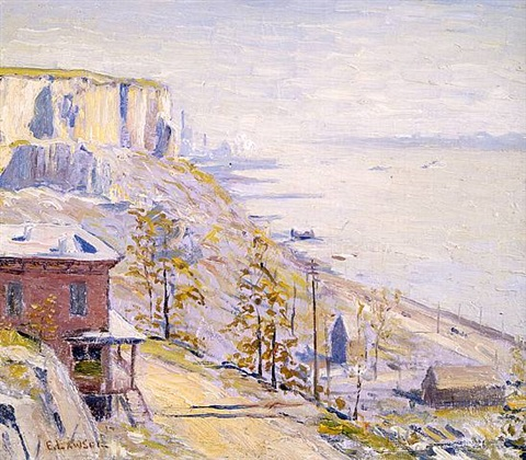 on the hudson river, palisade by ernest lawson