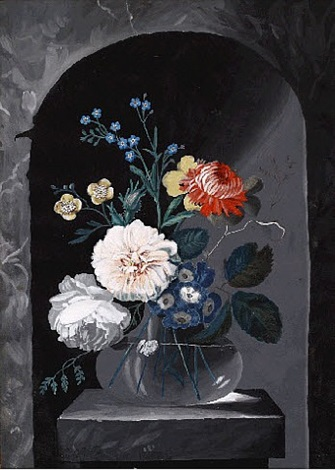 flowers in a glass vase opus 1 by cornelis johannes de bruyn