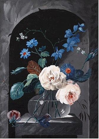 flowers in a glass vase by cornelis johannes de bruyn