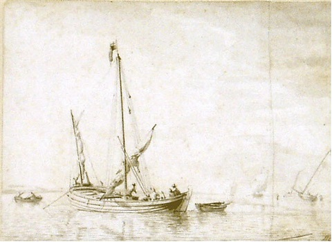a small boat in a calm sea with men rigging its sails by willem van de velde the elder