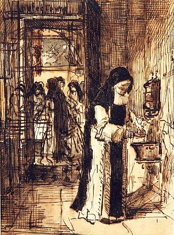 interieur de communanté: religieuse se préparant pour le repas by françois bonvin