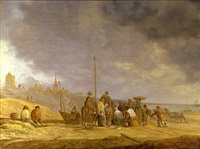 fish market on the beach by willem gillisz kool