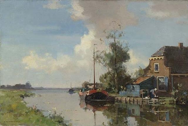 canal scene by cornelis vreedenburgh