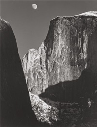 moon over half dome, yosemite national park, by ansel adams