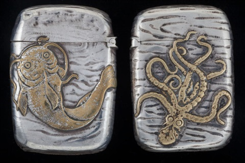 Two Gorham Partial Gilt Silver Japanesque Match Safes
