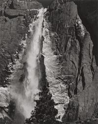 upper yosemite falls, spring, yosemite national park by ansel adams