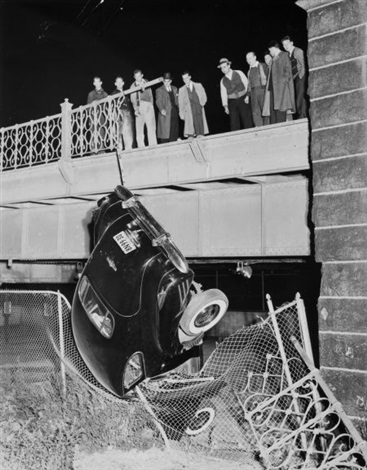 pulling up philip falcos car untitled car wreck and burned luxury liner 3 works by weegee