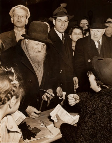 herman rosenbaum and untitled girl signing paper pair by weegee