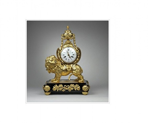 "an extremely rare and important louis xvi bronze pendulum clock: ""grinning lion"" by jacques-charles panier"