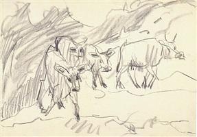 absteigende kühe by ernst ludwig kirchner