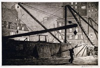 derricks at night by martin lewis
