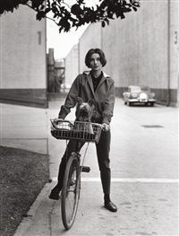 audrey hepburn on her bike at paramount studios, press print by sid avery