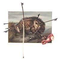 détrompe-l'oeil (la hyène atteinte de musique sur une peinture de je. bourhill) by daniel spoerri