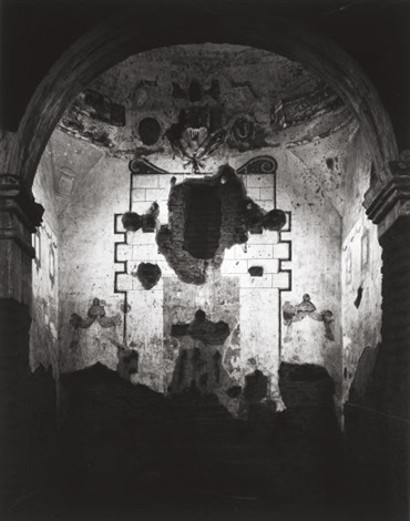interior of tumacacori mission plate 7 from portfolio vii by ansel adams