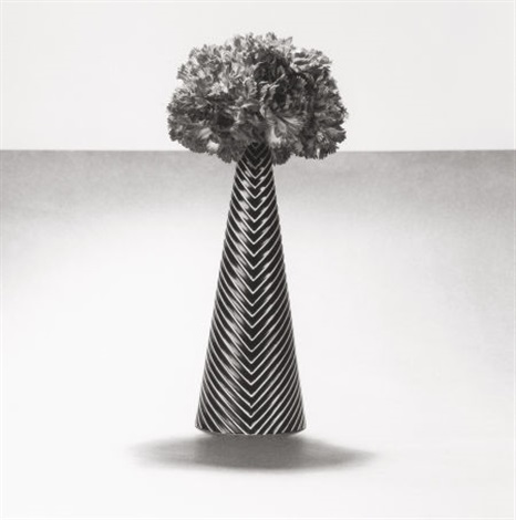 carnations with striped vase by robert mapplethorpe