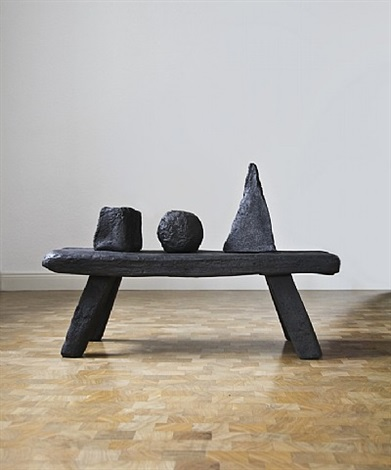 three forms on a bench by david nash