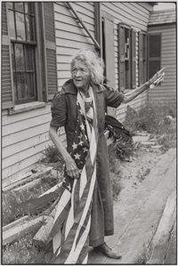 woman with american flag, new england by henri cartier-bresson