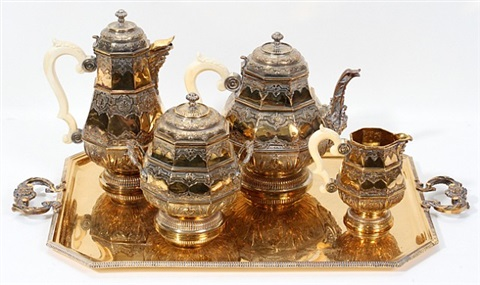 lot no. 1002: french gilded sterling & ivory tea & coffee service by henri gauthier