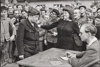 gestapo informer, deportation camp, dessau, germany by henri cartier-bresson