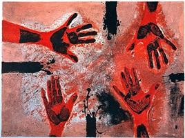 manos en rojo by rufino tamayo