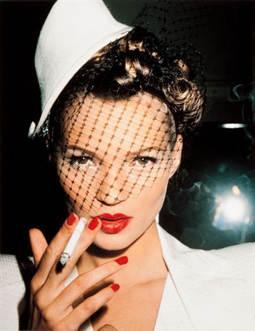 kate moss with fag in galliano paris by roxanne lowit