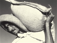 man with feed sack by ned scott