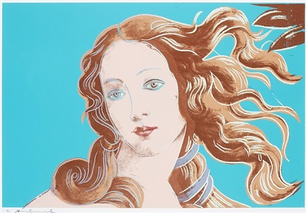 details of renaissance paintings (sandro botticelli, birth of venus 1482) by andy warhol