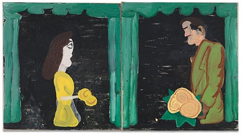 plastic bride and bridegroom by rose wylie