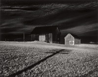 two barns and shadow by minor white