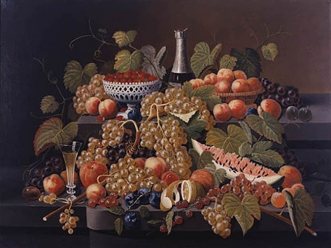 fruit and champagne on double tier by severin roesen