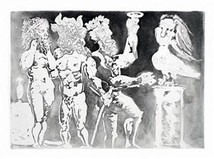 chez la pythie-harpye. homme au masque de minotaure et femme au masque de sculpteur (from the suite vollard) (bloch 227) by pablo picasso