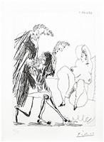 grosse courtisane saluée par trois gentilshommes linéaires (bloch 1663) by pablo picasso