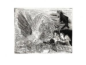 harpye à tete de taureau et quatre petites filles sur une tour surmontée d'un drapeau noir by pablo picasso