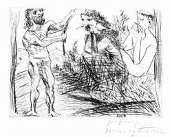 homme façonnant un arc devant une jeune femme et un flutiste by pablo picasso