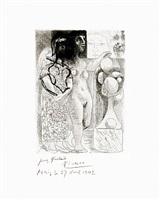 muse montrant à marie-thérèse pensive son portrait sculpté by pablo picasso