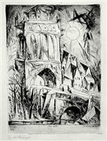the gate (das tor) by lyonel feininger