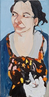 self-portrait with a cat by chantal joffe