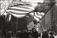 two american flags, freed iranian hostage tickertape parade, new york city by thomas arndt
