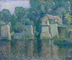 the old bridge in vernon (near giverny) by theodore earl butler