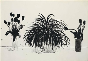 two vases of cut flowers and a liriope by david hockney