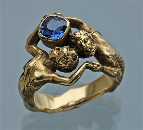 zeus and hera: suberb art nouveau ring by henry-ernest dabault