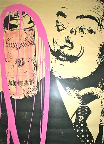 salvadore dali with campbells spray can by mr. brainwash