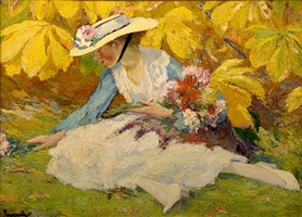 woman with flowers by edward cucuel