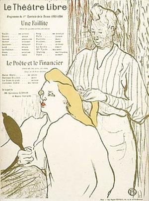 le coiffeur- programme du theatre libre by henri de toulouse-lautrec