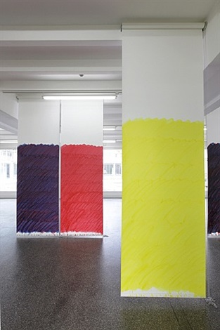 blind no. 16, fifteen-foot ceiling or lower, (cadmium red medium hue/anthraquinone blue/primary yellow/hansa yellow light) by stephen prina