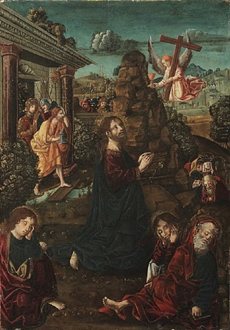 prayer in the garden (one of four in set) by rodrigo de osona the elder