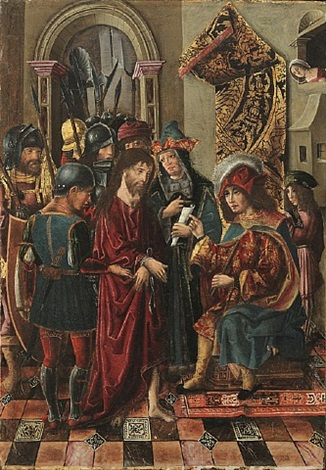 christ before pilate (one of four in set) by rodrigo de osona the elder
