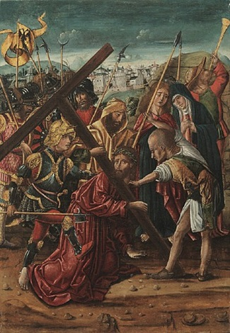 christ on the road to cavalry (one of four in set) by rodrigo de osona the elder
